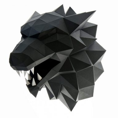 3D Wolf Head Animal Building Trophy Puzzle Low Poly PaperCraft Kit
