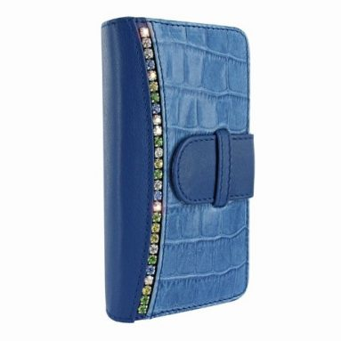 Wallet for Apple Iphone 5 Swarovski Blue