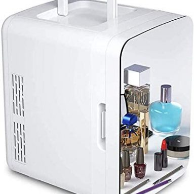 Makeup Cosmetics Mirrored Door Mini Fridge Thermoelectric Cooler and Warmer AC/DC Powered System