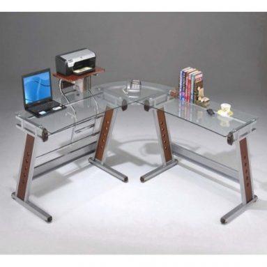 Executive Glass L Shaped Computer Desk