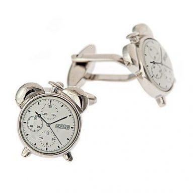 Rhodium plated alarm clock cufflinks