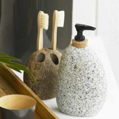 River Stone Dispenser & Toothbrush Holder