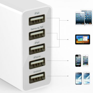 5-Port USB Wall Charger Travel Charger