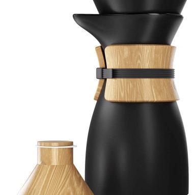 Pour Over Coffee Maker, Platinum Brew Ceramic Carafe and Cone Funnel