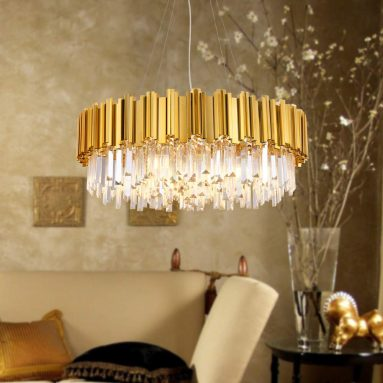 Raindrop Gold Plated Modern Crystal Chandelier