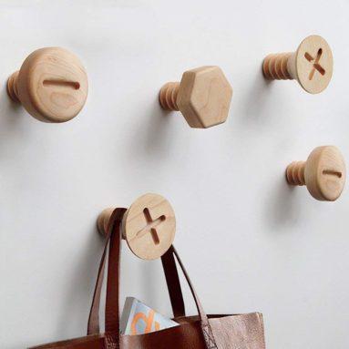 Natural Handmade Wooden Screws Hooks Hangers