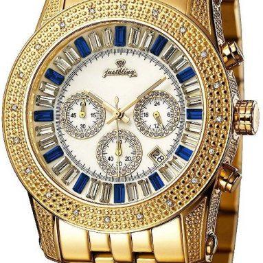 """Python Gold Blue""Chronograph Diamond Watch"