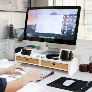 Computer Monitor Stand with Drawers