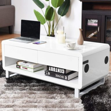 Built-in Bluetooth Speakers and Volume Controls Drawer LED Light Modern Coffee Table