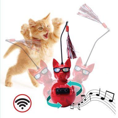 Dj Whiskerz Wireless Speaker Dancing Cat Toy with Catnip