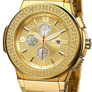 """""""Luna Gold"""" and Money Clip Diamond Chronograph 18K Gold Plated Watch"""