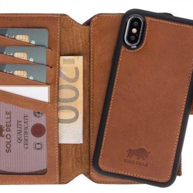 Solo Pelle iPhone X/XS Detachable Leather Carrying case & Wallet Zipper Magic