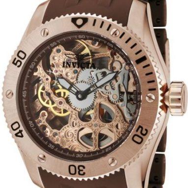 Invicta Men's Skeleton Dial Brown Polyurethane Watch