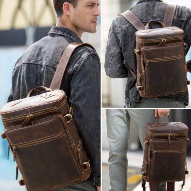 Men's Retro Classic Leather Casual School Case