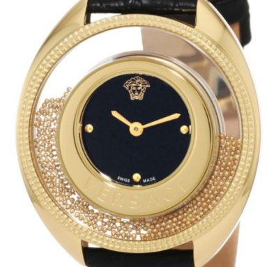 Versace Women's Yellow-Gold Plated Black Dial Leather Watch