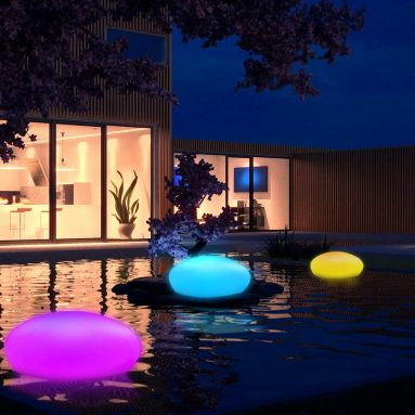 Solar Garden Lights Outdoor Glow Cobblestone