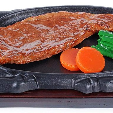 Large Cast Iron Steak Plate Sizzle Griddle with Wooden Base Steak Pan