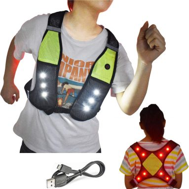 Reflective Running Vest with LED Lights USB Rechargeable