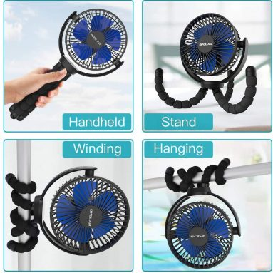 5000mAh Rechargeable Battery Operated Flexible Tripod Clip Fan