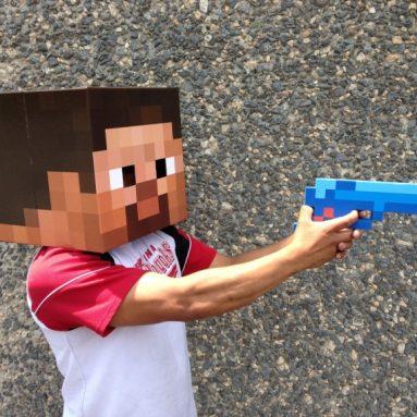 8 Bit Pixelated Blue Diamond Foam Gun Toy