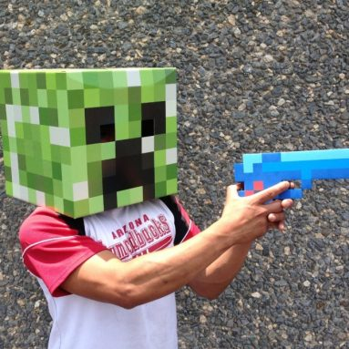 8 Bit Pixelated Blue Diamond Foam Gun Toy 10″