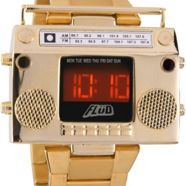 Boombox Gold Retro LED Digital Watch