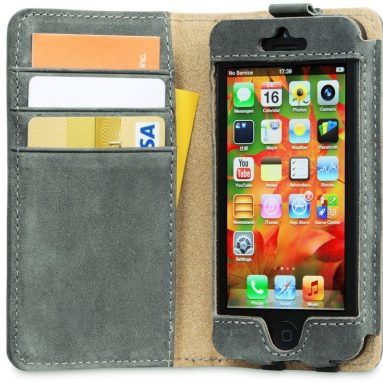 Leather iPhone 5s Case / iPhone 5 Case with Card Wallet