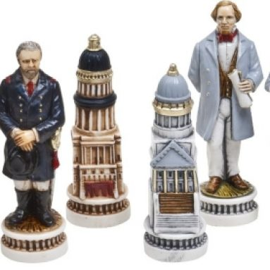American Civil War Luxury Chessmen & Mancini Chess Board