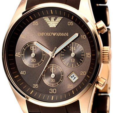 Emporio Armani Men's Sport Rose Gold Ion-Plating Brown Chronograph Dial Watch