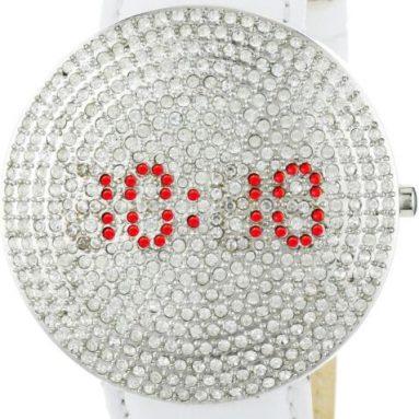 Freelook Women's Stardust Digital White and Silver Swarovski Watch