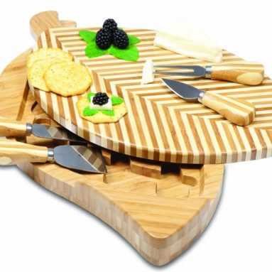 Picnic Time Leaf Cutting Board and Tools Set