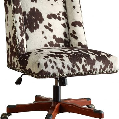 Benjara Height Adjustable Swivel Office Chair with Wood Base