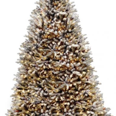 9-Feet Snowy Dunhill Fir Tree with Cones and 900 Clear Lights