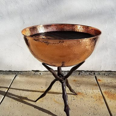 Fire Pit & Collapsible Stand, Hammered Copper