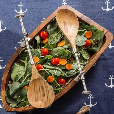 Row Boat Shaped Acacia Wood Salad Bowl