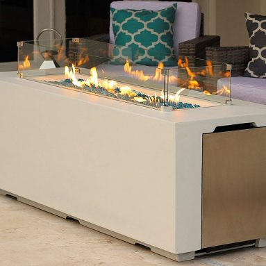 AKOYA Outdoor Essentials 70″ Linear Rectangular Modern Concrete Fire Pit