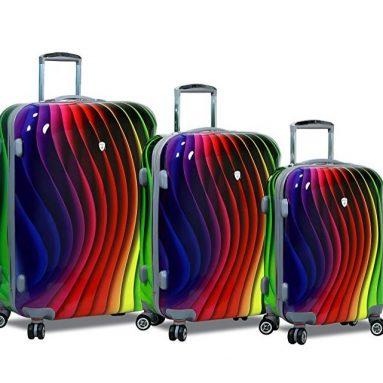 Abstract Spectrum Stamp Polycarbonate Hardside Spinners with Lock Luggage Set
