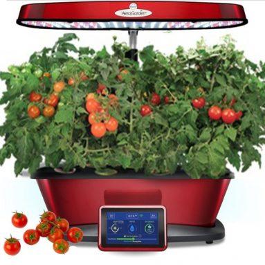 Aerogarden Bounty Elite Wi-Fi Red Stainless Indoor Garden with Cherry Tomato Kit