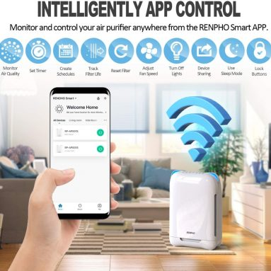 Air Purifier True HEPA Filter for Large Room 301 SQ.FT with Smart WiFi
