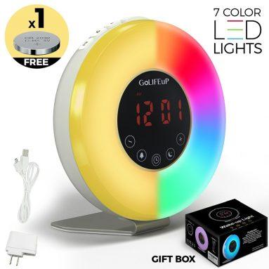 Alarm Clock Radio Digital Sunrise and Sunset simulation Wake Up Light