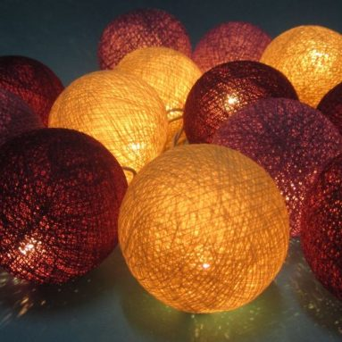 Mix Cotton Ball Patio Party String Lights
