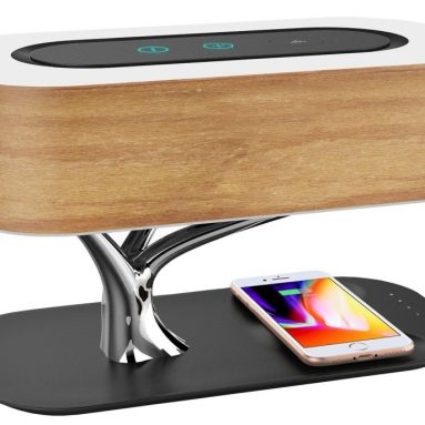 Ampulla Bedside Lamp with Bluetooth Speaker and Wireless Charger