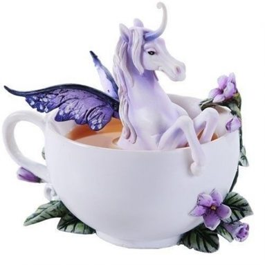 Amy Brown Tea Cup Spring Iris Unicorn Figurine Fantasy Fairy