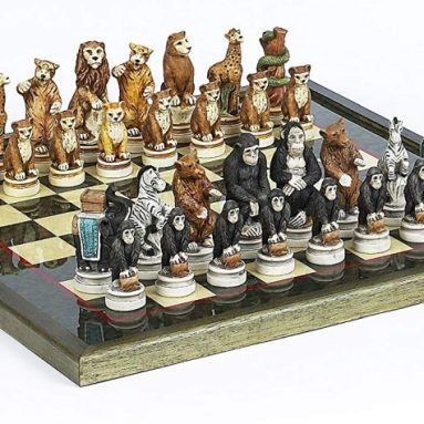 Animal Kingdom Chess Set & Sofisticato Chess Board