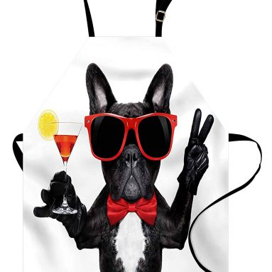 French Bulldog Holding Martini Cocktail Apron