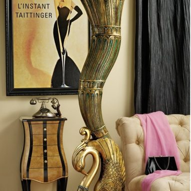 Art Deco Peacock Sculptural Floor Lamp