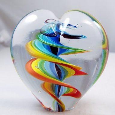 Art Hand Glass Art Twirled Rainbow Stripes Paperweight