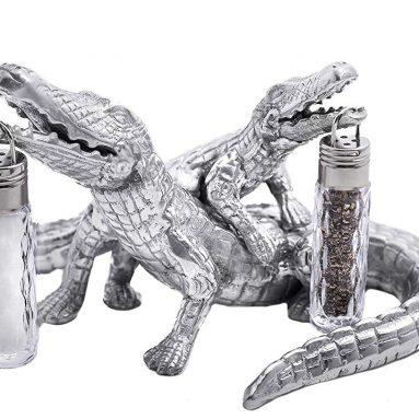 Arthur Court Designs Aluminum Alligator Salt and Pepper Set