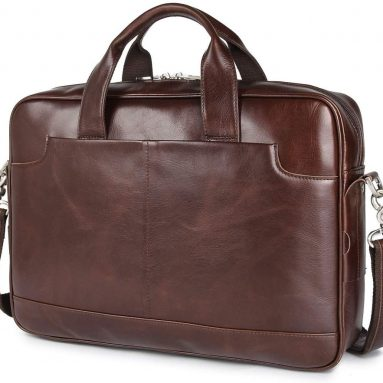 Augus Leather 16″ Laptop Briefcase for Men