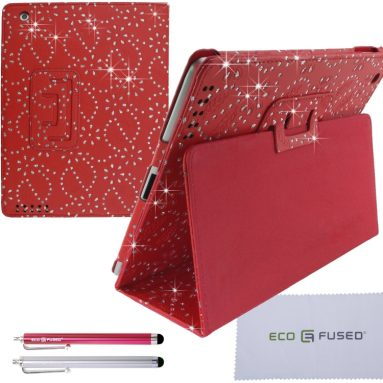 BLING iPad 4 3 2 Red Vegan Leather Case